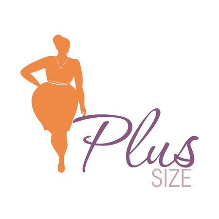 Plus size woman icon illustration