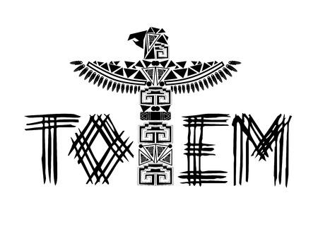ancient black totem logo illustration Vectores