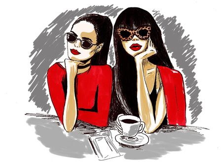 woman smile: Two glamour girls in red clothes illustration