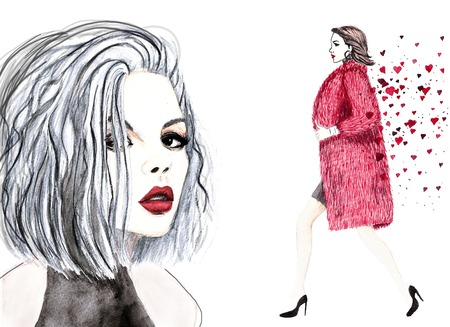 lady in red: watercolor face and walking girl illustration Stock Photo