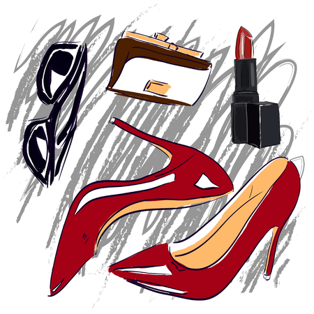 glamour makeup: Red shoes and cosmetics sketch set illustration Illustration