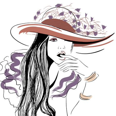 opened mouth: Girl in hat with opened mouth illustration Illustration