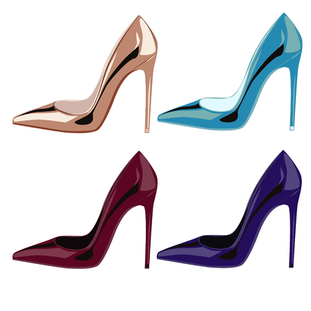 leather shoes: Colored golden patent leather shoes illustration