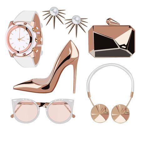 accessory: Golden rose fashion accessories illustration
