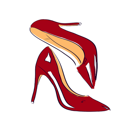 red shoes: Red shoes sketch illustration object Illustration