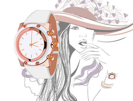 fashionable: Girl in hat with opened mouth and waches illustration Illustration