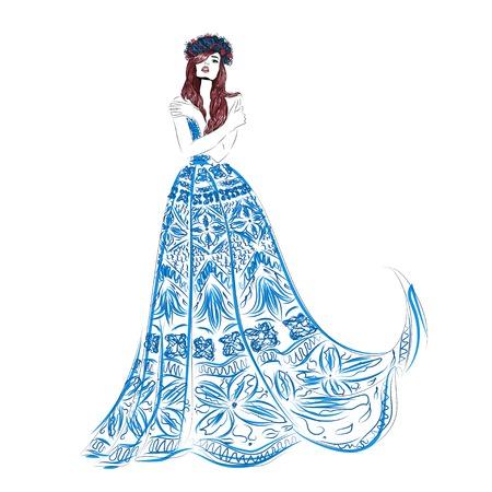 Lungo illustrazione blu vestito ragazza