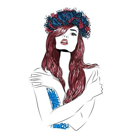 long red hair: Sensual read head girl illustration illustration