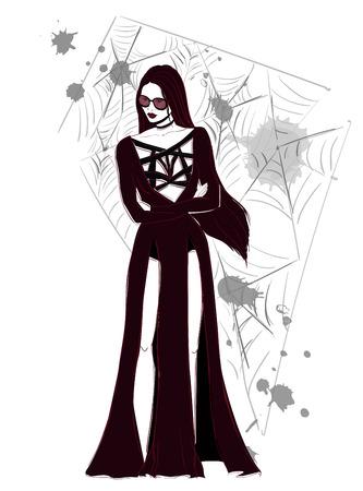 Gotic donkere vrouw in lange jurk illustratie