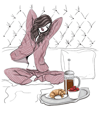 breakfast in bed: Morning woman in bed sketch illustration