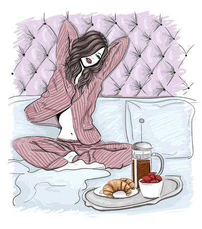 Morning woman in bed illustration