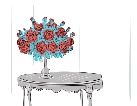 vase: Bouquet standing in vase illustration