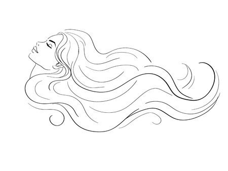 woman profile: woman profile with long hair
