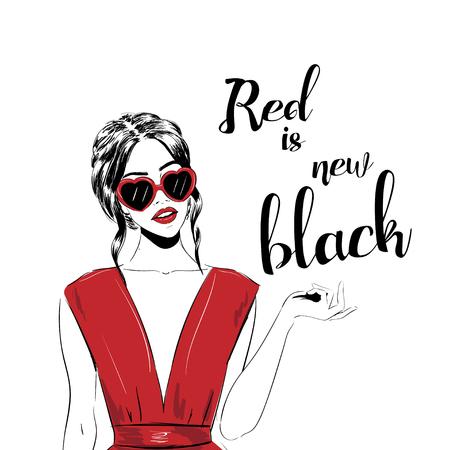 Women face with sunglasses Thursday. Fashion Girls Illustration Set