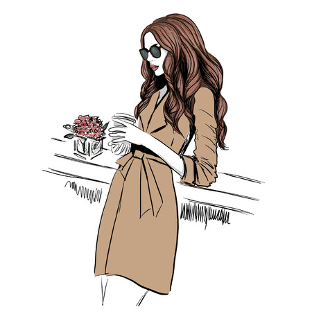 Woman in trench coat with coffee illustration