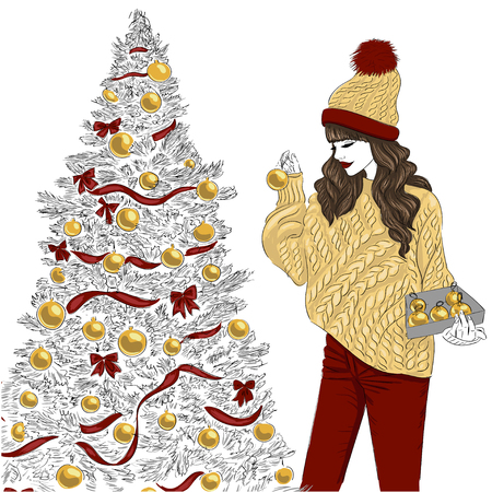 newyear: Girl near Christmas tree illustration.