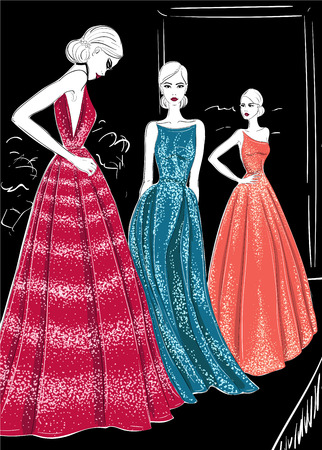Three models in couture dresses catwalk illustration.  イラスト・ベクター素材