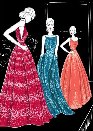 Three models in couture dresses catwalk illustration. Illustration