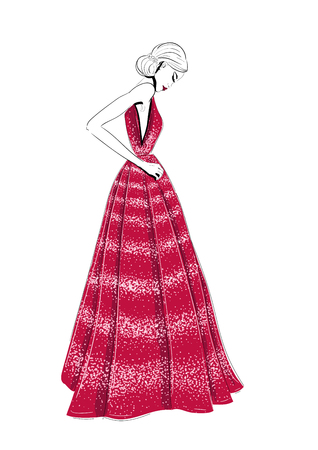 Model in red couture dress illustration