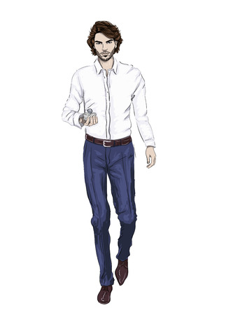 Man with prefume bottle illustration Иллюстрация
