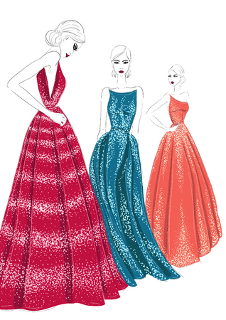 three models in couture dresses illustration