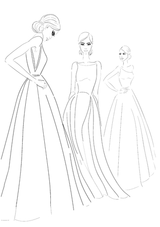Three models in couture dresses sketch
