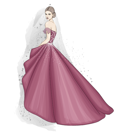 tender woman in couture dress illustration
