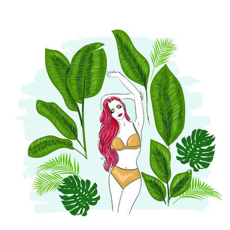 Girl in tropical leaves