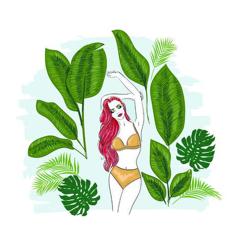Girl in tropical leaves