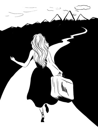 Woman running with suitcase to her dreams illustration
