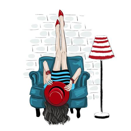 fahion woman rised legs up on a wall illustration Ilustração