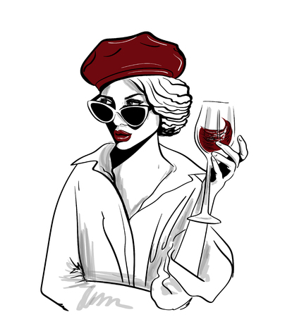 red beret woman with glass of wine illustration