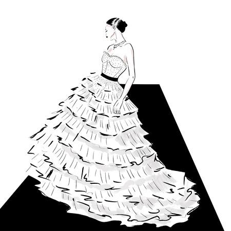 elegant lady in couture dress on catwalk illustration