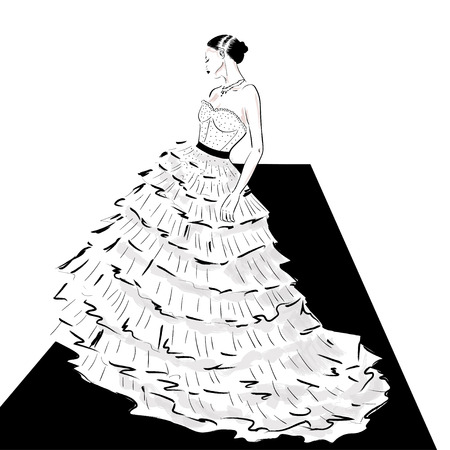 elegant lady in couture dress on catwalk illustration