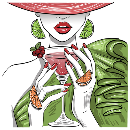 woman with citrus martini cocktail in hat