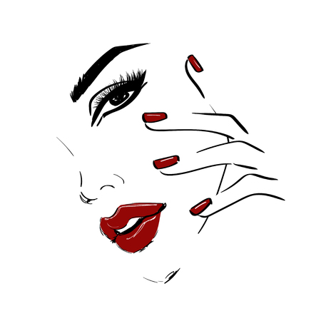 Outline face with red lips and nails illustration 免版税图像 - 126200184