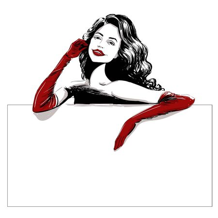 Smiling woman in long red gloves template illustration