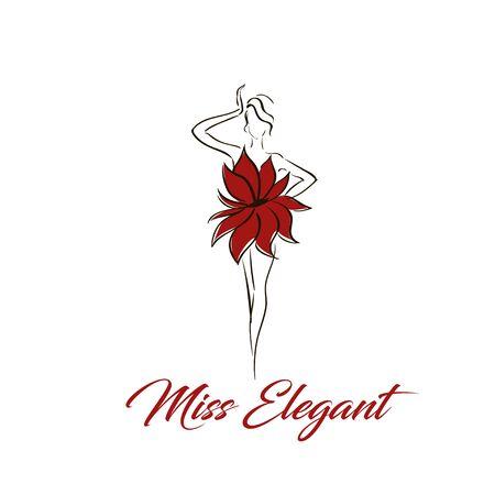 lady figure in flower dress logo illustration
