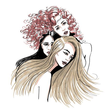 three different hair style women sketch illustration