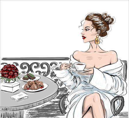 sketch of woman in bathobe on a balcony illustration