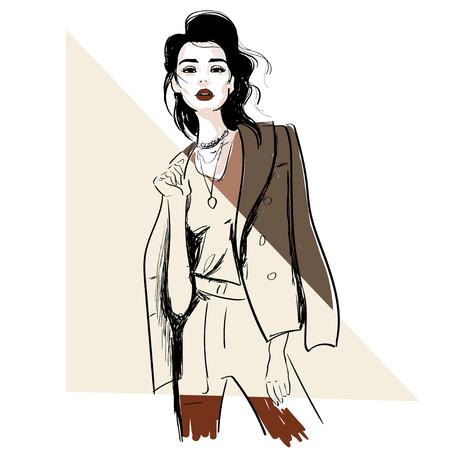 fashion sketch of model in jacket illustration
