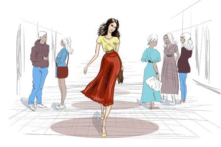 hand drawn model walking throw people illustration Stockfoto - 129688117