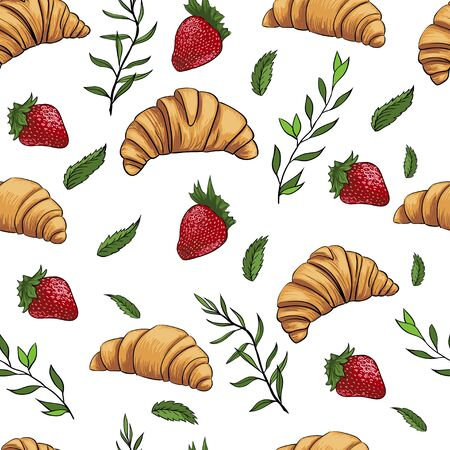 croissant strawberry fresh sweet seamless pattern illustration Archivio Fotografico - 129688111