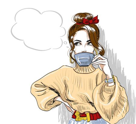 trendy girl drinking coffee and looking up