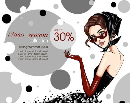 woman in handkerchief and gloves banner vector