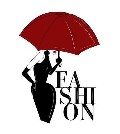 woman under red umbrella fashion art