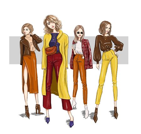 four bright girls models in trendy outfits Illustration