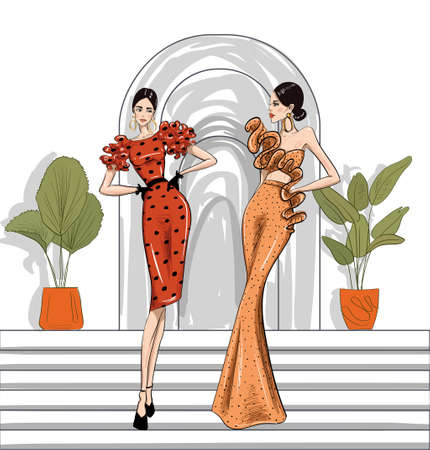 hand drawn fashion women in couture dresses