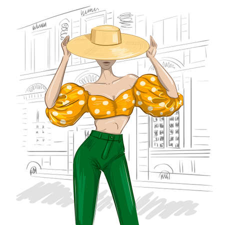 sunny fashion woman outfit with hat and balloon sleaves