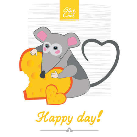 keeps: mouse keeps cheese  Illustration